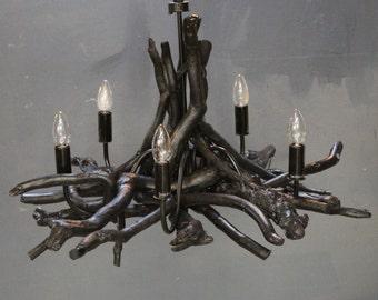 Black Driftwood Chandelier,Ebony Black Chandelier,Black Branch Gothic Chandelier, Gothic Lighting, 5 light adjustable drop