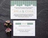 Art Deco Wedding Invitation / 'Gatsby' 1920s Modern Vintage Wedding Invite / Deep Emerald Green Gold / Custom Colours Available / ONE SAMPLE