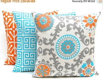 SALE Decorative Throw Pillow Covers - Turquoise Pillow Covers - Set of Three - Turquoise, Orange, Gray- 16 x 16 - Orange Pillow Covers