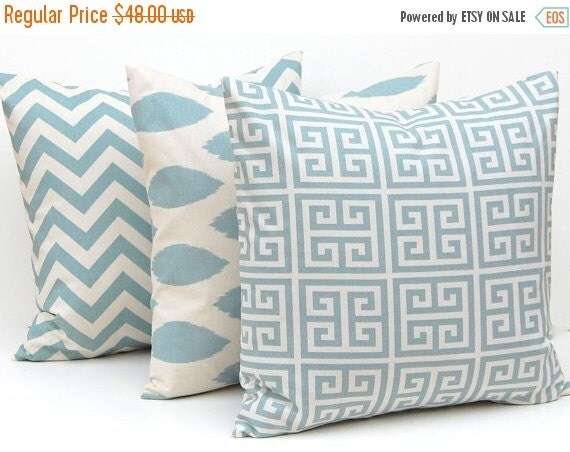 SALE Pillows, Pillow Cover, Throw Pillow Covers Village Blue on Natural Greek Key, Chevron and Ikat Decorative Pillow Covers 16 x 16 Inches