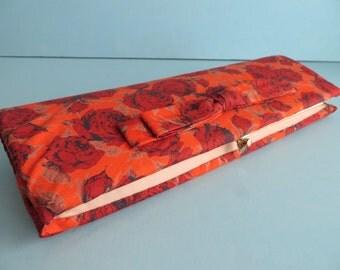 Vintage 1960's/Orange Floral Print Clutch/Rose Print Clutch/60's Rose Print Purse/Orange Floral Print Purse