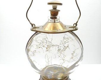 Vintage Musical Decanter , Glass and Brass Liquor Decanter Plays How Dry I Am