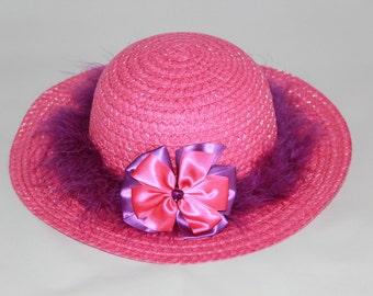 Tea Party Hat - Dark Pink Easter Bonnet with Purple Boa - Girls Sun Hat - Easter Hat - Birthday Hat - Sunday Dress Hat - Derby Hat - 1639