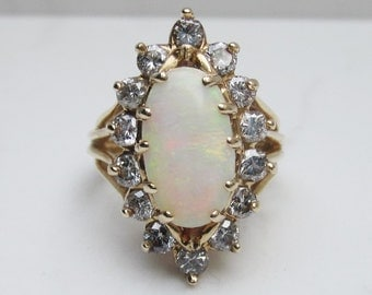Huge Retro Halo Diamond and Natural White Opal Halo Ring Set 14k Solid Yellow Gold, Size 6.5