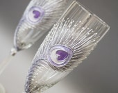 Bleached Peacock Feather Hand Painted Champagne Glasses in Purple, Silver and pearl white, set of 2