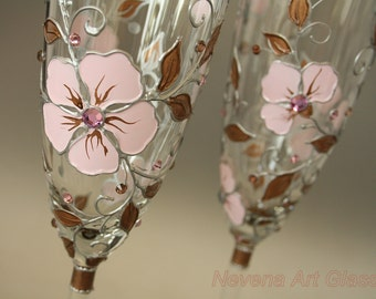 Champagne Glasses, Wedding Glasses, Toasting Glasses, Champagne Flutes, Pink Copper Wedding, Hand Painted, Set of 2