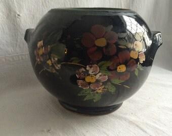 Vintage hand painted bean pot