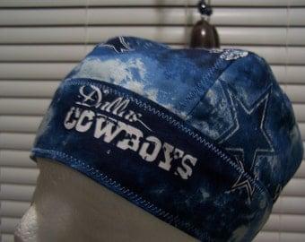 Free Shipping, Ready to ship, NFL, Dallas Cowboys, football, du-rag, do-rag, skullcap, chemo cap, head wrap, biker rag
