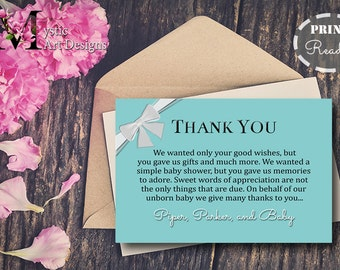 Teal and White bow Baby Shower Thank you cards, baby shower Invitation, baby shower, Printable, Customized, Baby & Co, tiffanys