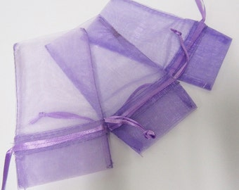 12 Pack Organza Drawstring Bags - PURPLE // Perfect for Party Favors and Jewelry //