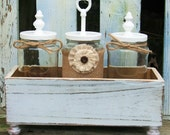 Rustic Wood Box w/ Distressed White Faux Finish and 3 Glass Jars with Burlap and Jute Accents & Decorative Toppers Home Decor, Wedding Decor