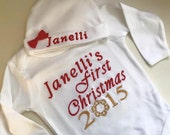 Girl or Boy My First Christmas Onesie outfit with Hat and Name, Girls hat comes with NAME and bow.