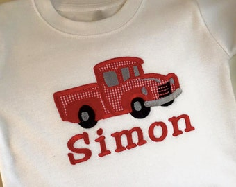 Boy or Girl Truck Applique and Name choose any fabrics to your liking,