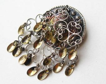 Vintage Norwegian 830 Sterling Silver Solje Drop Dangle Norway Brooch Pin