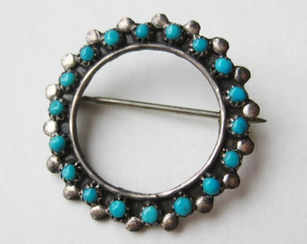 Vintage Navajo American Indian Sterling Silver Turquoise Bead Small Brooch Pin