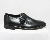 Size 4.5 Men's Dress Shoes - Authentic 1960s Black Leather Oxfords - Buckle Strap - Mens Size 4 1/2 - 60s Deadstock in Box - 45955-1