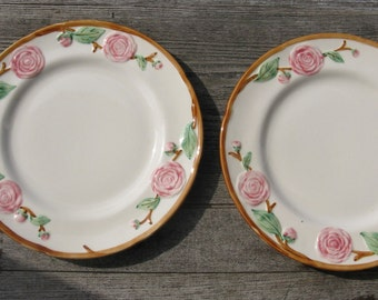 metlox pottery camellia salad plates 1940s california pottery set of 2 hand painted