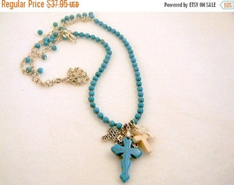 On Sale Bohemian Necklace, Turquoise Necklace, Turquoise Cross Necklace, Pendant Necklace