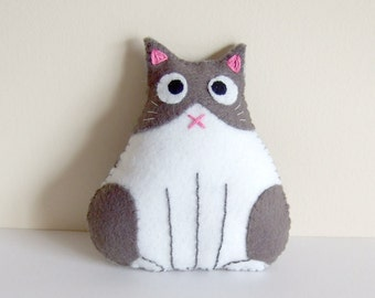 Grey and white / blue and white fat cat plushie