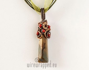 OOAK wire wrapped green picasso jasper tooth pendant