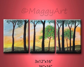 Spring evening - 36x16 inch,  original modern painting, ready to hang