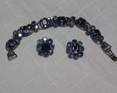 Weiss sapphire colored blue baguette with blue round rhinestones prong set bracelet and clip earrings