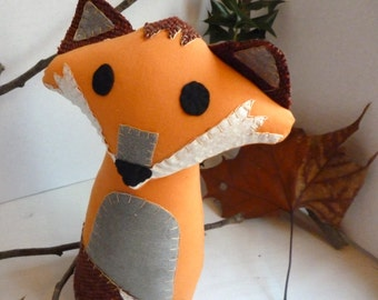 Fox Stuffed Animal, Timothy the Fox - 13 Inch Stuffed Fox Made From Re-purposed and Salvaged Fabrics