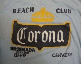 Vintage Corona Beach Club Beer Mexico Vacation Soft thin blue T Shirt M
