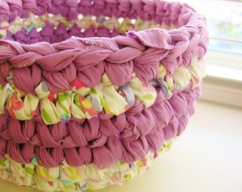 Crochet Rag  Bowl - Crocheted Rag Bowl - Repurposed - EcoFriendly - Lavender, White, Pink Rag Bowl