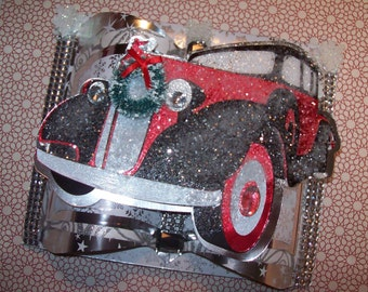 Christmas Studebaker Automobile Card - 3D Embellished Holiday Card - Crafted by Hand