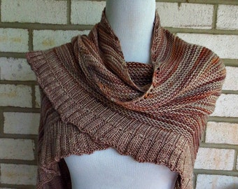 Variegated Chocolate Shawl Wrap Fall Winter Accessory One of a Kind Hand Knit