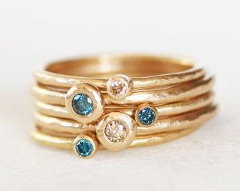 Diamond Stacking Ring Set of 5 - Blue and Brown Diamond Gold Rings  - Choose 14k or 18k