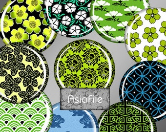 Printable Digital Circles 1 Inch  Printable Pendants Bottlecaps Decoupage Collage Scrapbook Instant Download 48 Different Patterns CS 468