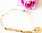 Armenian Bracelet, 14 k gold fill Armenian Bracelet, Hand Stamped Gold Fill Bracelet