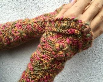 """Long Cuffs wristwarmers in Boho Style - """"The Last Flowers"""" by Dom Klary"""