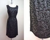 1950s 60s Black sequin cocktail dress / 50s sequinned wiggle, Michael Howard label - L