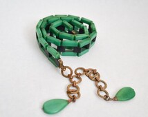 1920s 30s Jade green & black Galalith link belt / 1930s casein plastic chain belt