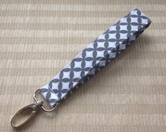 Wristlet Keychain / Fabric Keyfob / Key fob with swivel clip - Gray and White