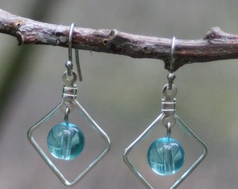 Simple Turquoise Glass Bead Earrings