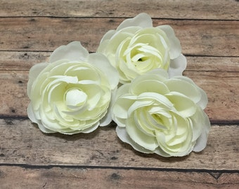 3 CREAM Ranunculus Flowers - 2.5 Inches - Artificial Flowers, Silk Flowers, Wedding, Flower Crown
