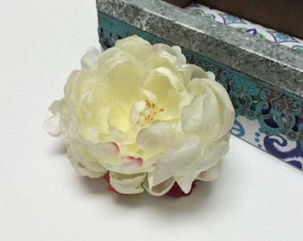 Artificial Peony in CREAM FUCHSIA - 4 Inches - Artificial Flowers, Silk Flowers, Flower Crown, Wreath, Millinery, Wedding