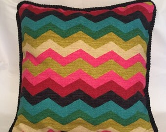 Country Cottage Garden Pillow Chevron Blue Ivory Pink Black Decorator French Gold Green