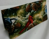 Ladies Checkbook Cover Coupon Holder Clutch Purse Billfold Ready-Made Red Blue Birds in Pine Forrest