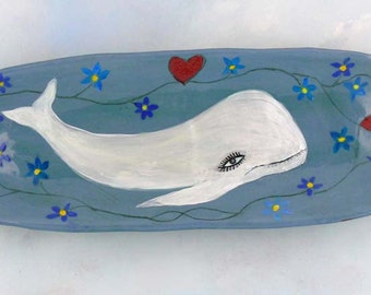 Ceramic serving tray, Forget Me Not and White Whale