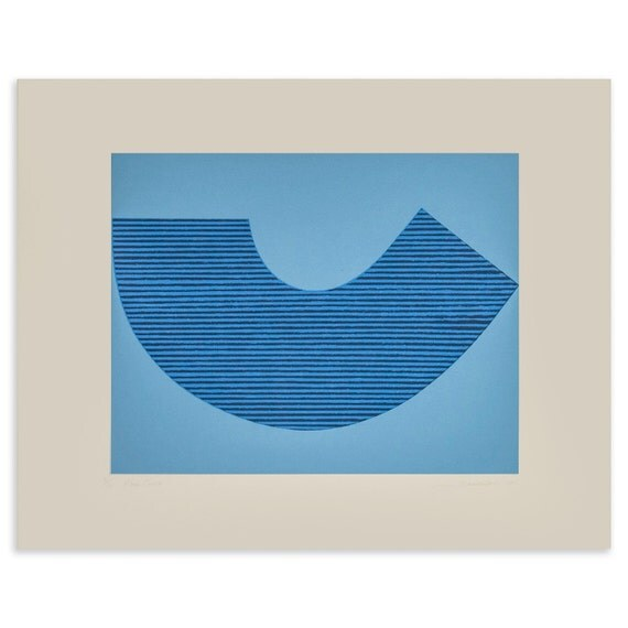 Blue abstract / abstract screenprint, hand pulled original art in vibrant blues. Modern, simple, contemporary print Emma Lawrenson