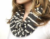 Infinity Scarf Charcoal Gray and Ivory Ruffle Stripe Cowl Fall Cream Jersey