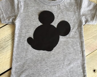 Mickey Mouse Inspired Iron On Applique Plain Black DIY