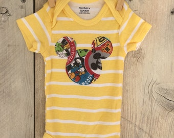 0-3 Months Bodysuit with Mickey Mouse Inspired Iron On Yellow