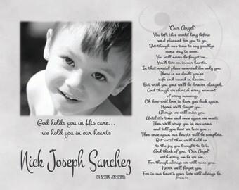 Loss of Child-In Loving Memory-Memorial Print-Loss of Son-Loss of Daughter-Husband Memorial-Wife Memorial-Sympathy Gift-Our Angel Poem