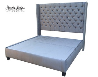 Tufted Bed Wingback Extra Tall Velvet King Queen Full Twin Any Fabric Shape Height Nailhead Trim Platform Bed Frame BY CUSTOM ORDER